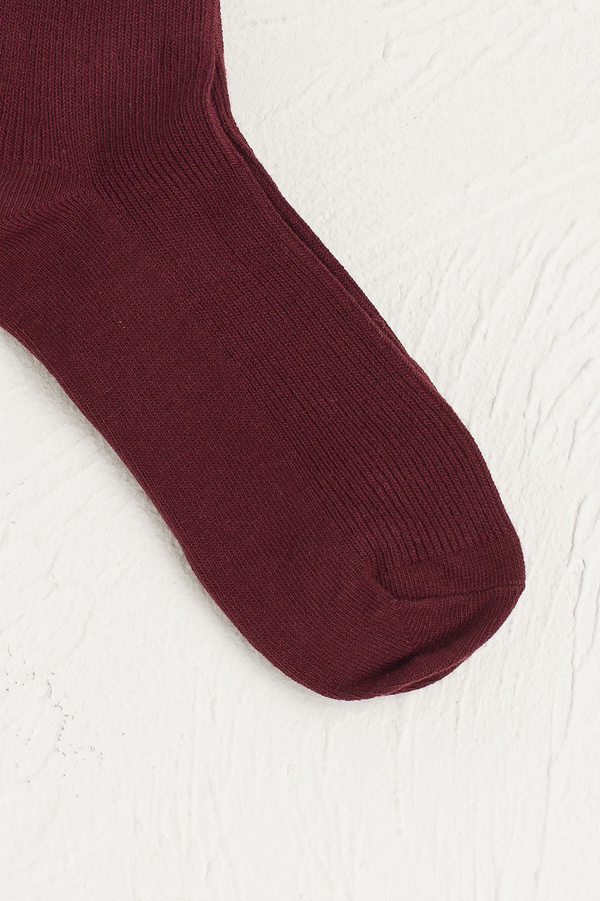 Colour Ribbed Socks, Burgundy