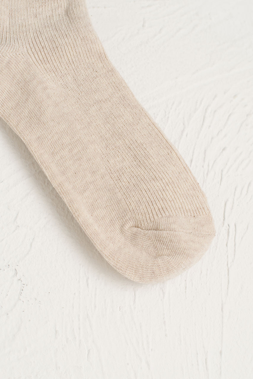 Colour Ribbed Socks, Oatmeal
