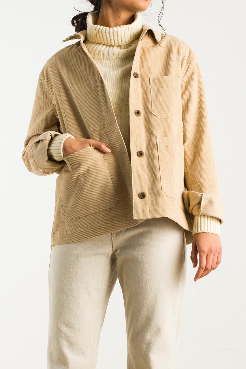 Cord Shirt Boxy Jacket, Beige