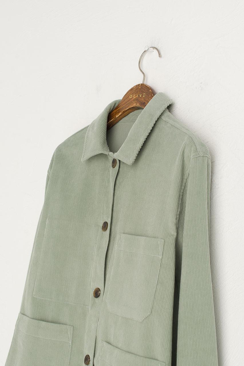 Cord Shirt Boxy Jacket, Mint