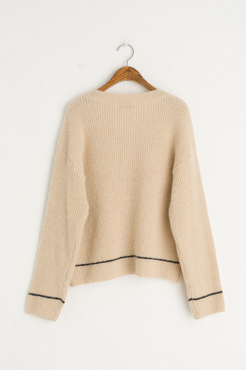 Colour Point V Neck Jumper, Oatmeal