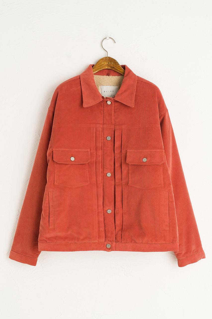 Cord Shearing Boxy Jacket, Amber