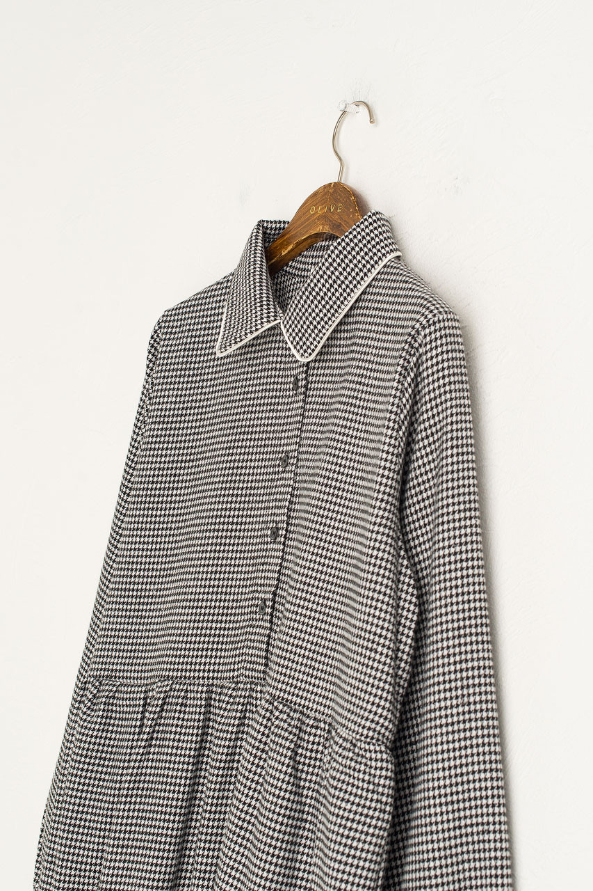 Houndstooth Check Shirt Dress, Navy