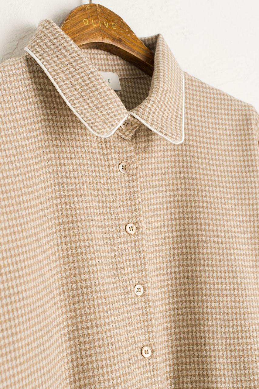 Houndstooth Check Shirt Dress, Beige