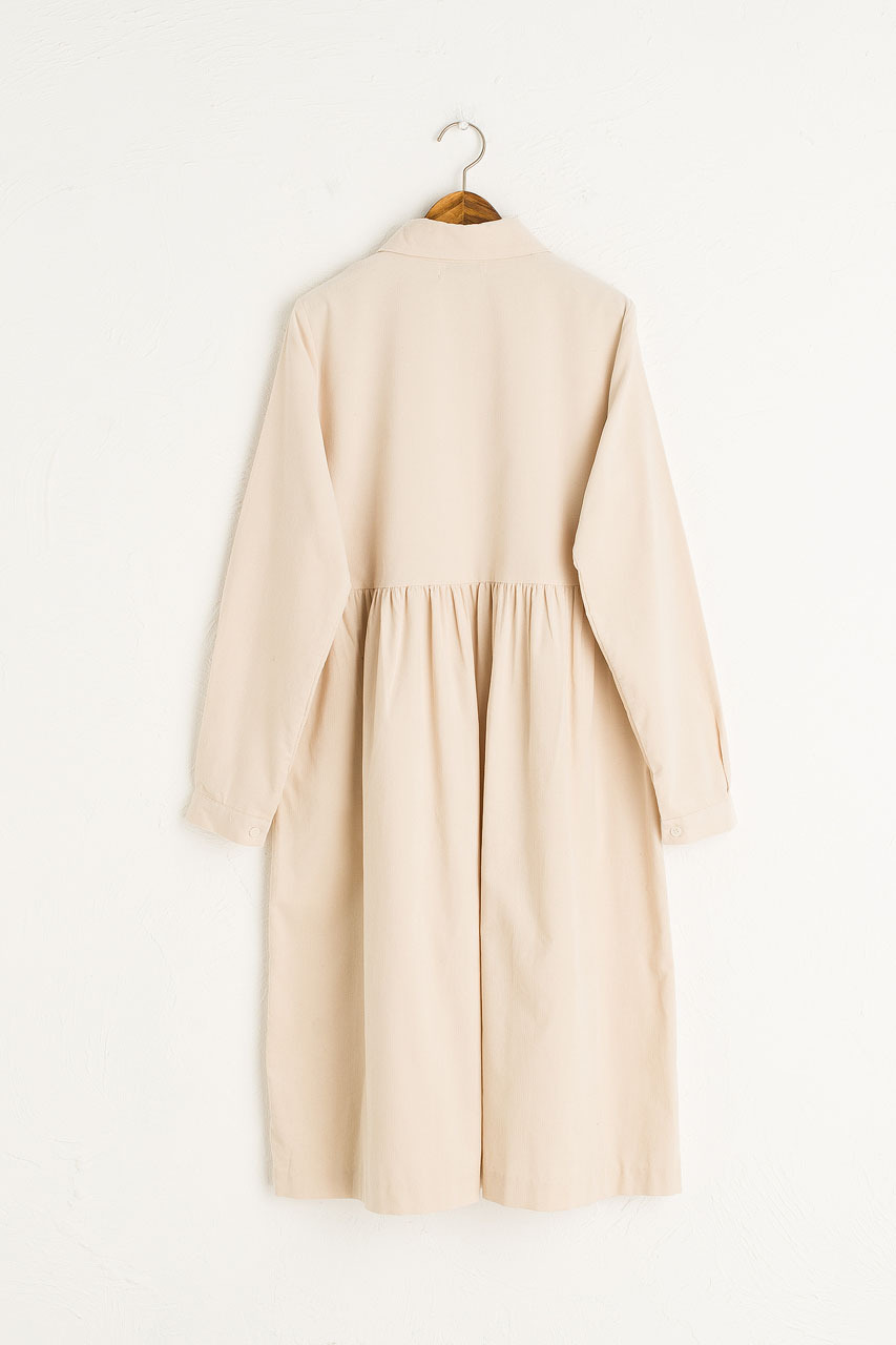 Tomoko Cord Shirt Dress, Ivory