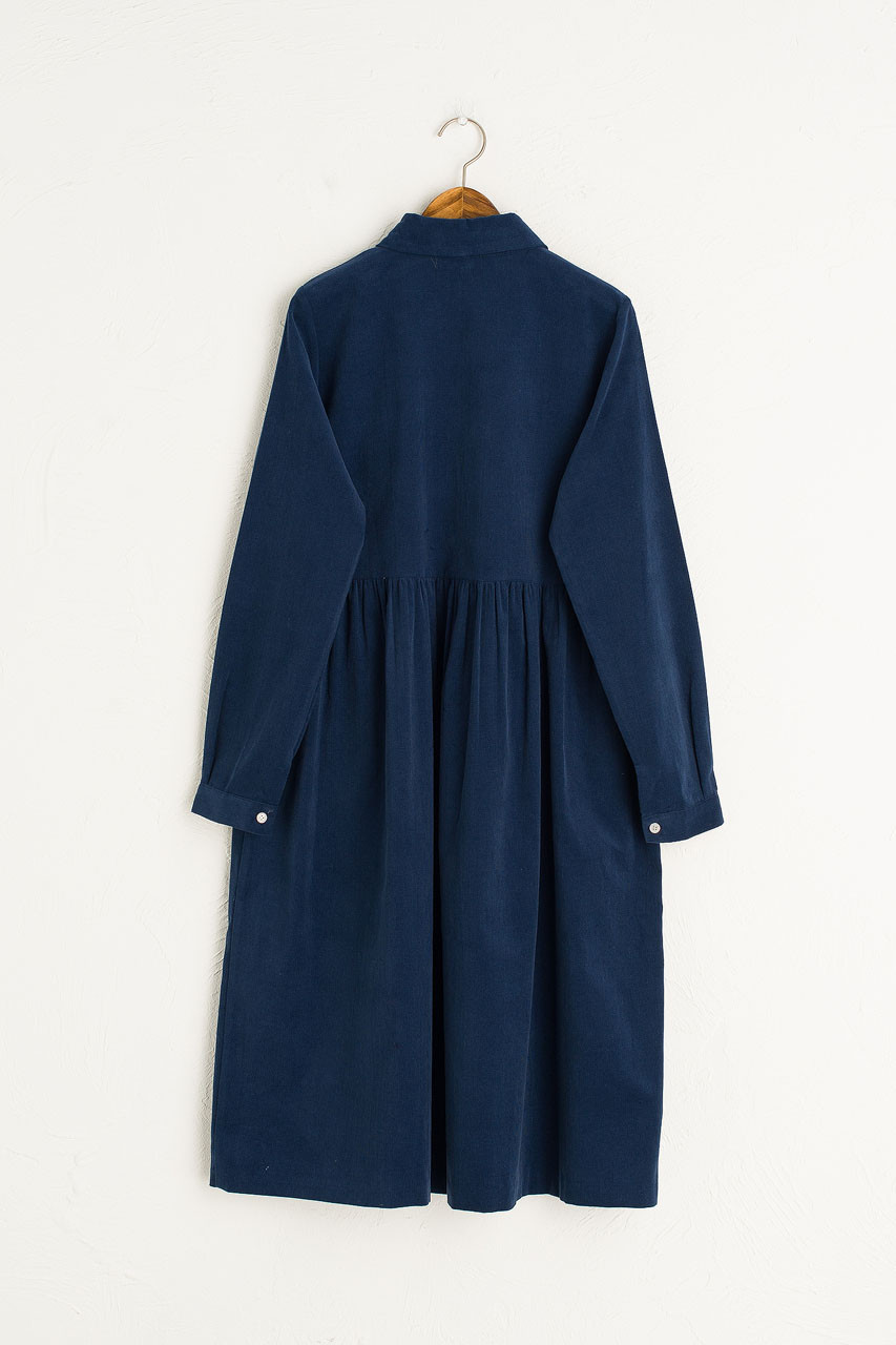Tomoko Cord Shirt Dress, Navy
