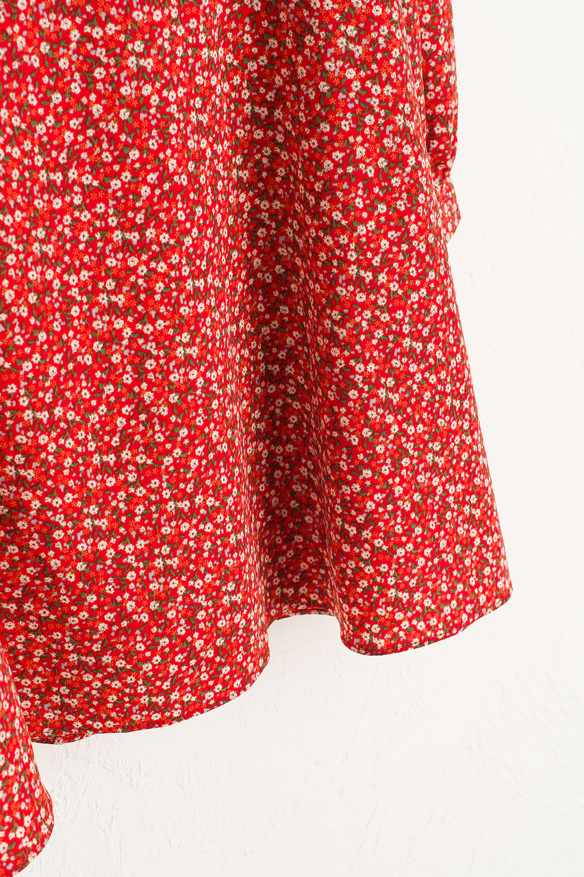 Ruby Flower Dress, Red