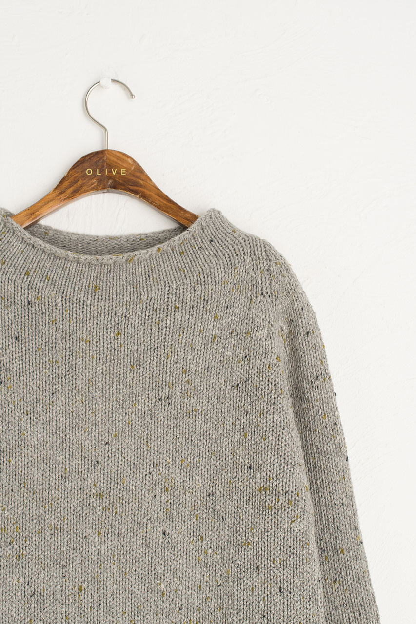 Flecked Fisherman Knit, Grey