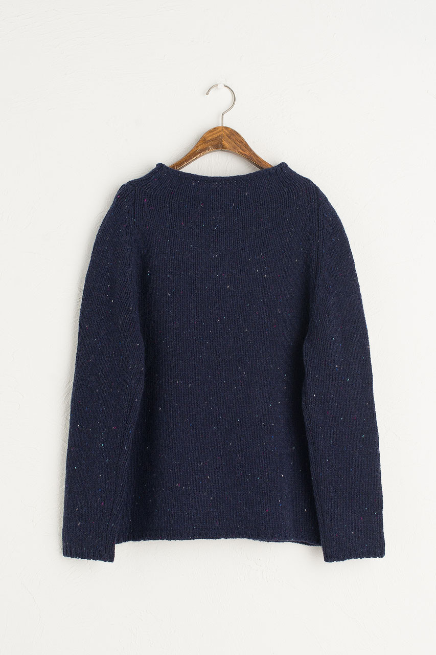Flecked Fisherman Knit, Navy