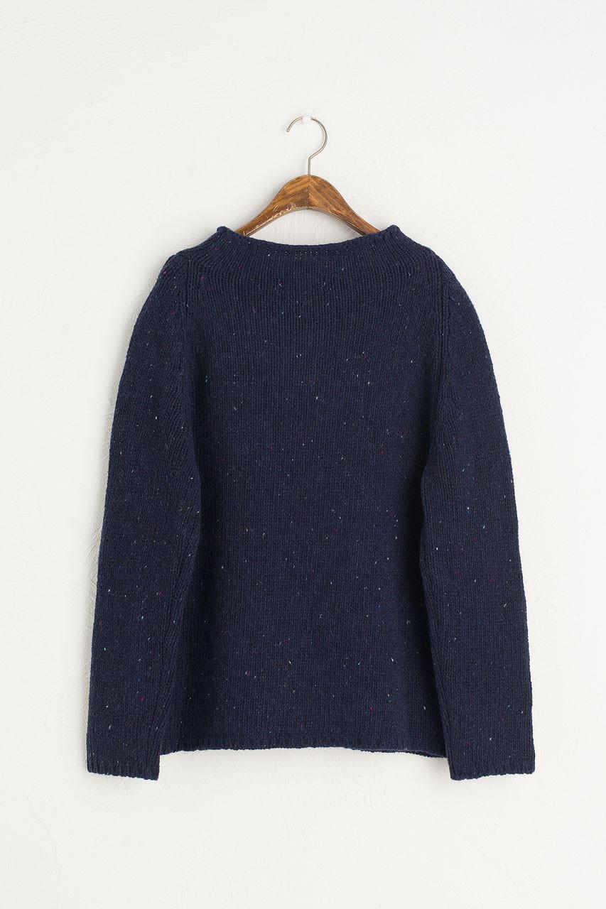 Flecked Fisherman Knit, Navy