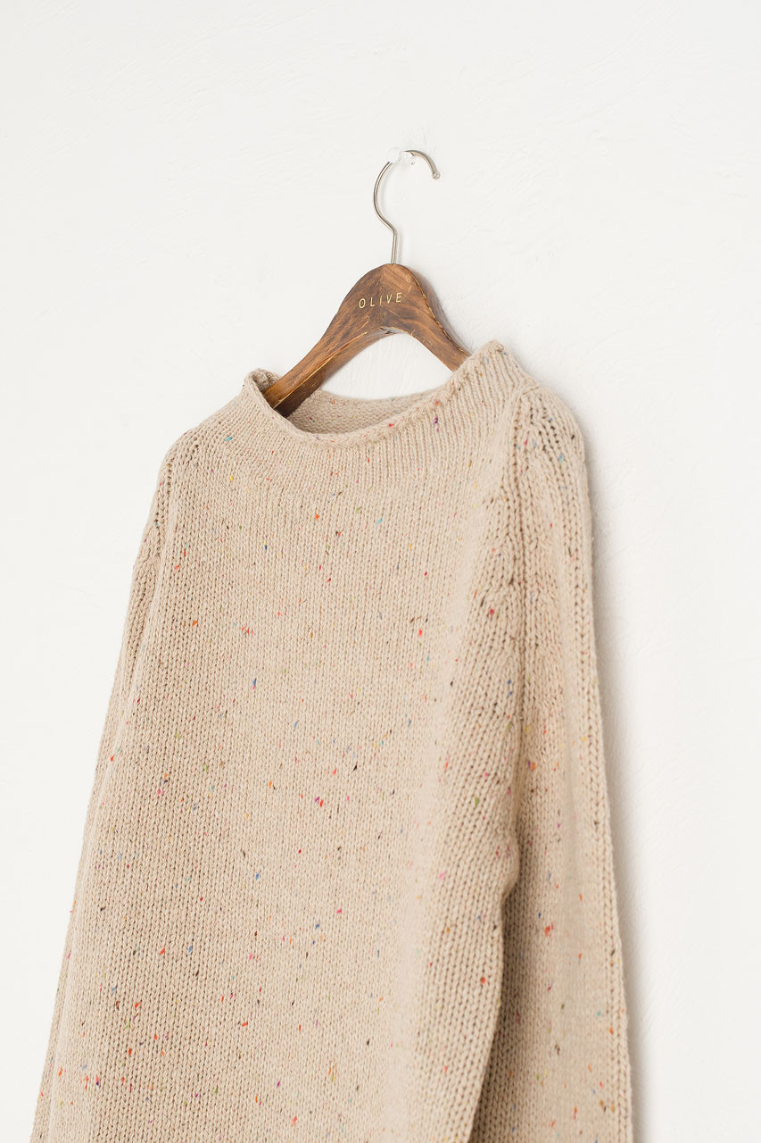 Flecked Fisherman Knit, Beige