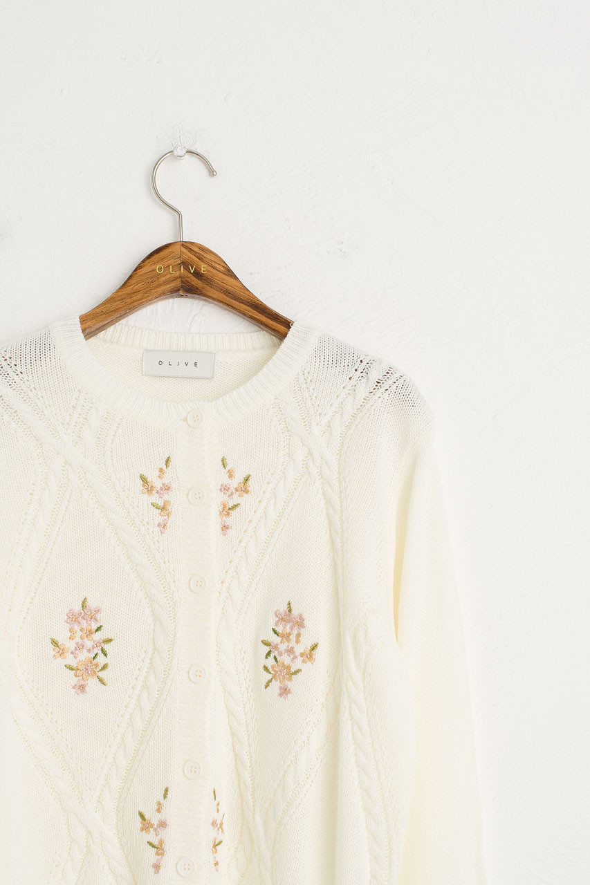 Flower Embroidery Cardigan, Ivory