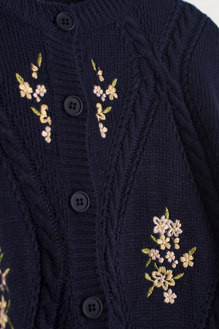 Flower Embroidery Cardigan, Navy