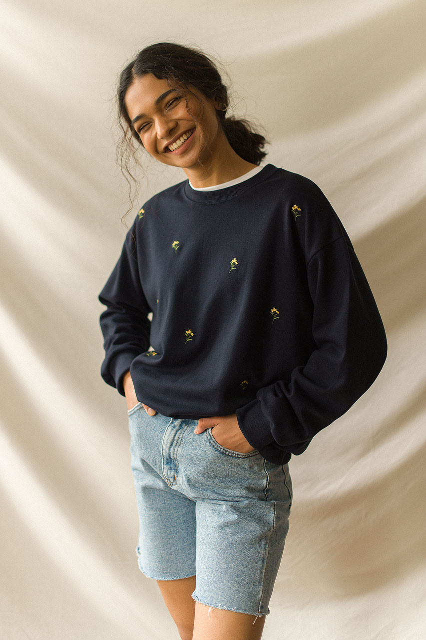 Lily Stitch Sweatshirt, Navy