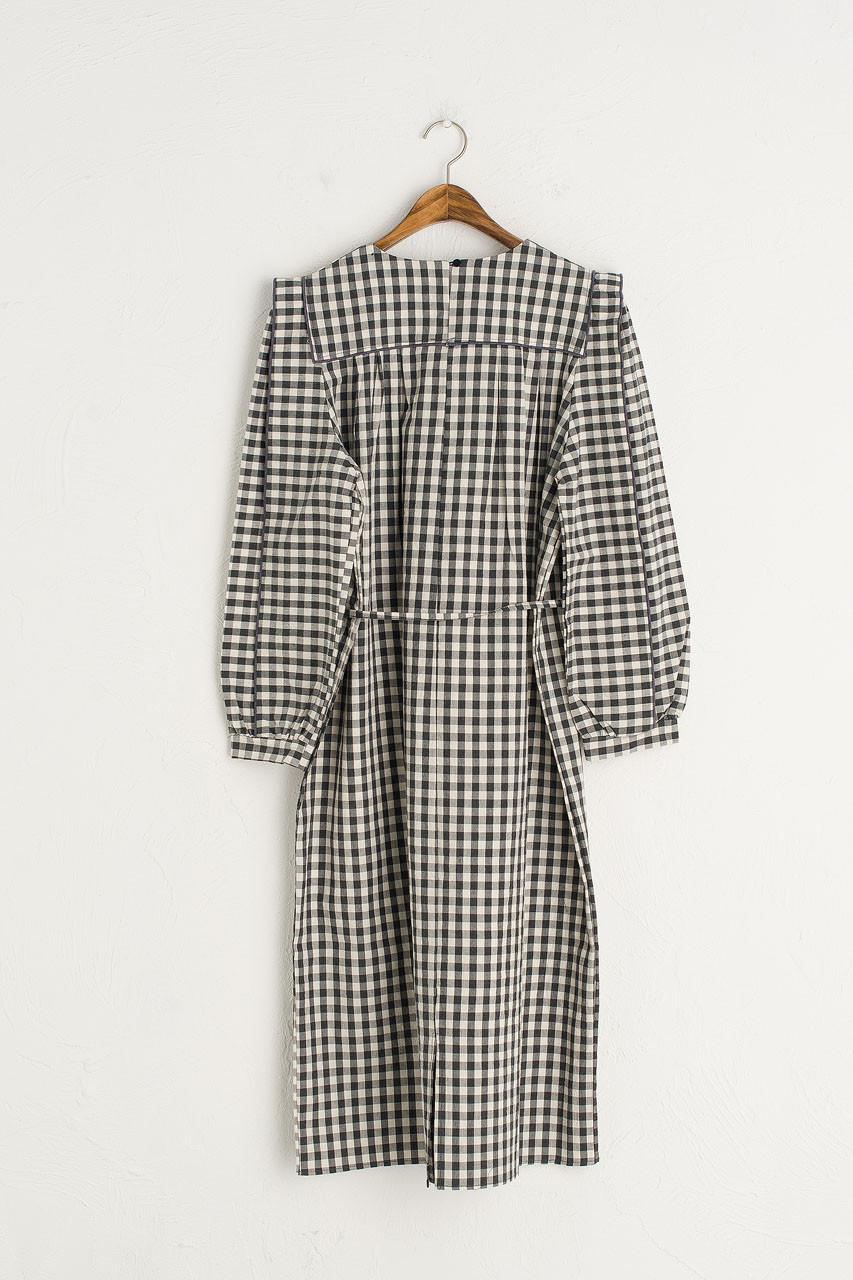 Aurelie Gingham Dress, Black
