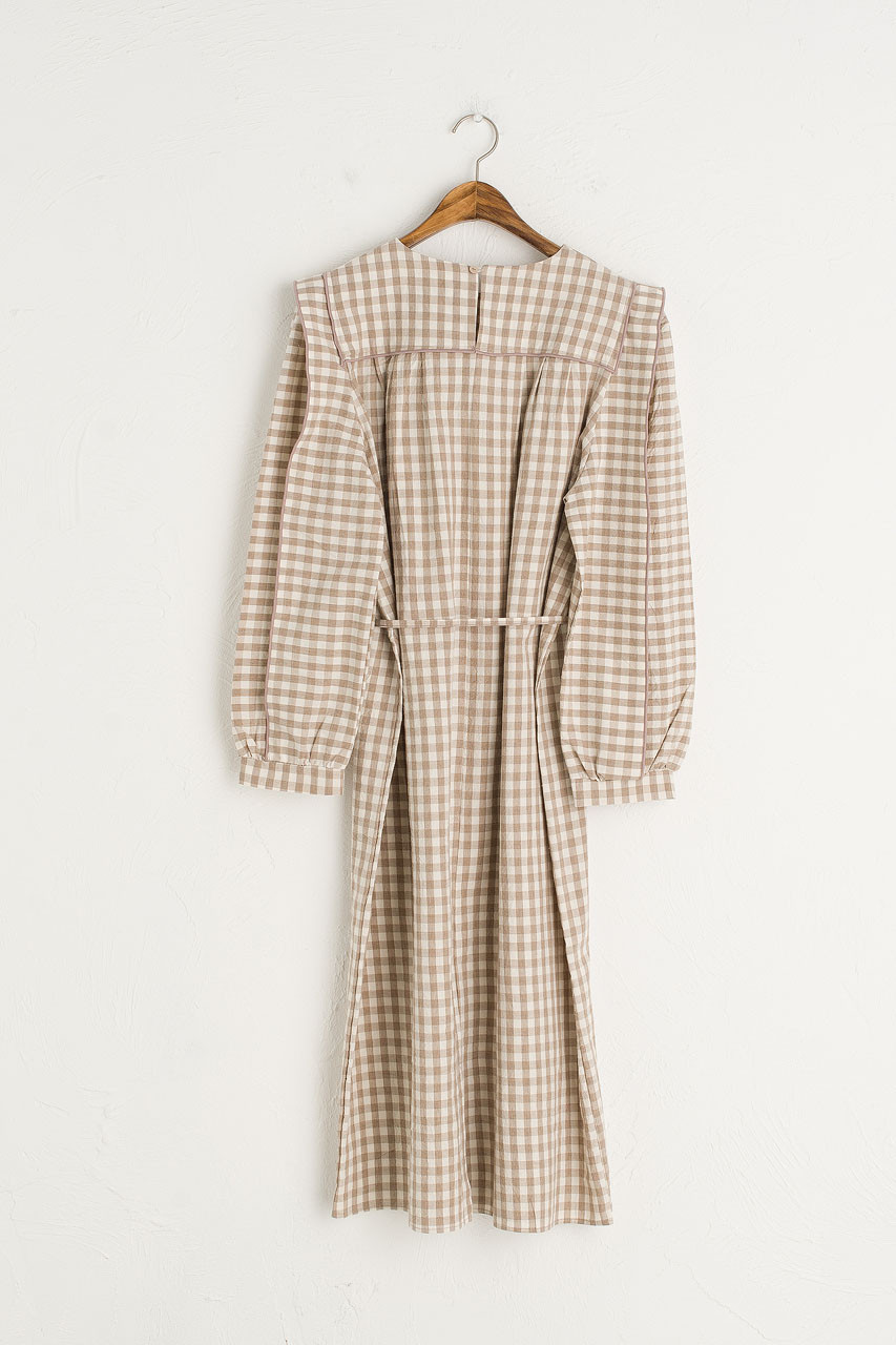 Aurelie Gingham Dress, Beige