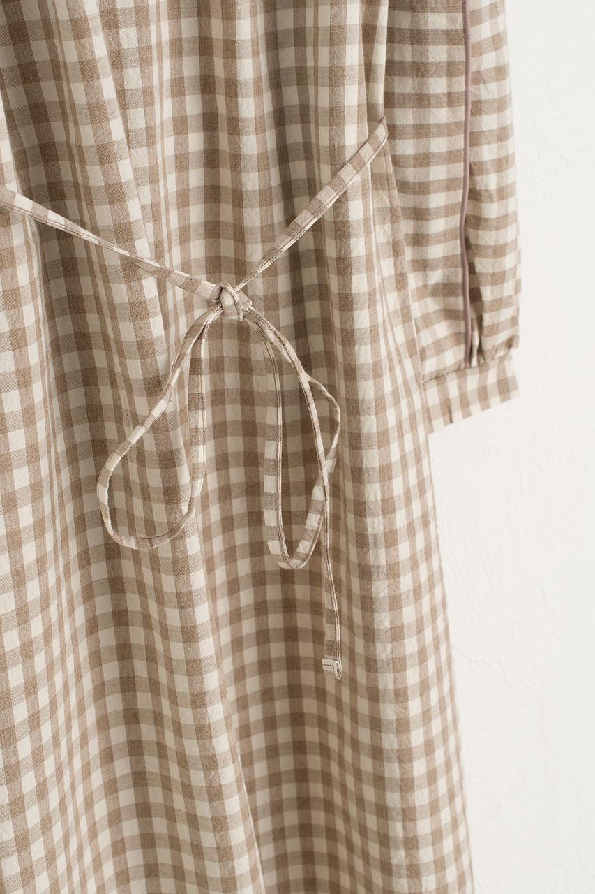 Aurelie Gingham Dress, Beige