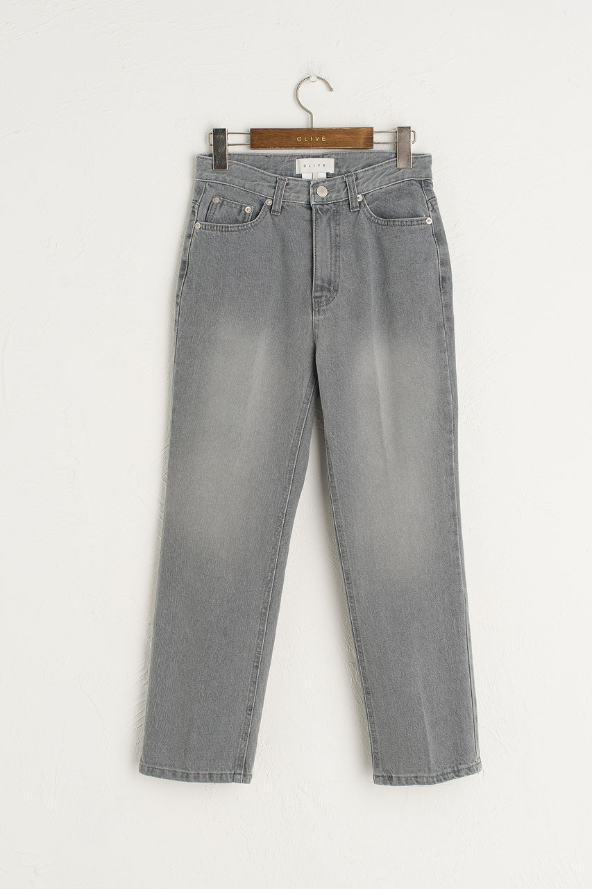 Pleated Wash Jean, Grey