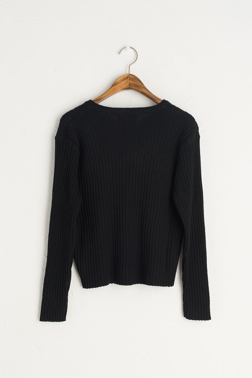 Ribbed Crop Jumper, Black