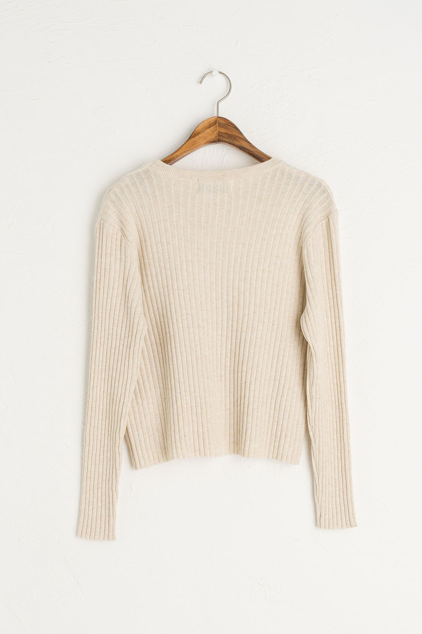Ribbed Crop Jumper, Beige