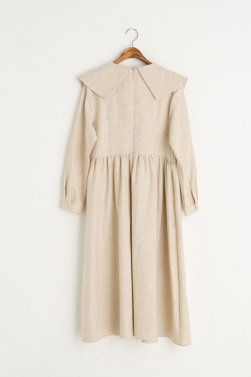 Herringbone Big Collar Dress, Beige