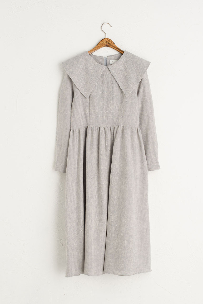 Herringbone Big Collar Dress, Blue