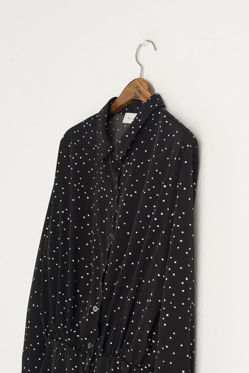 Bell Dot Shirt Dress, Black