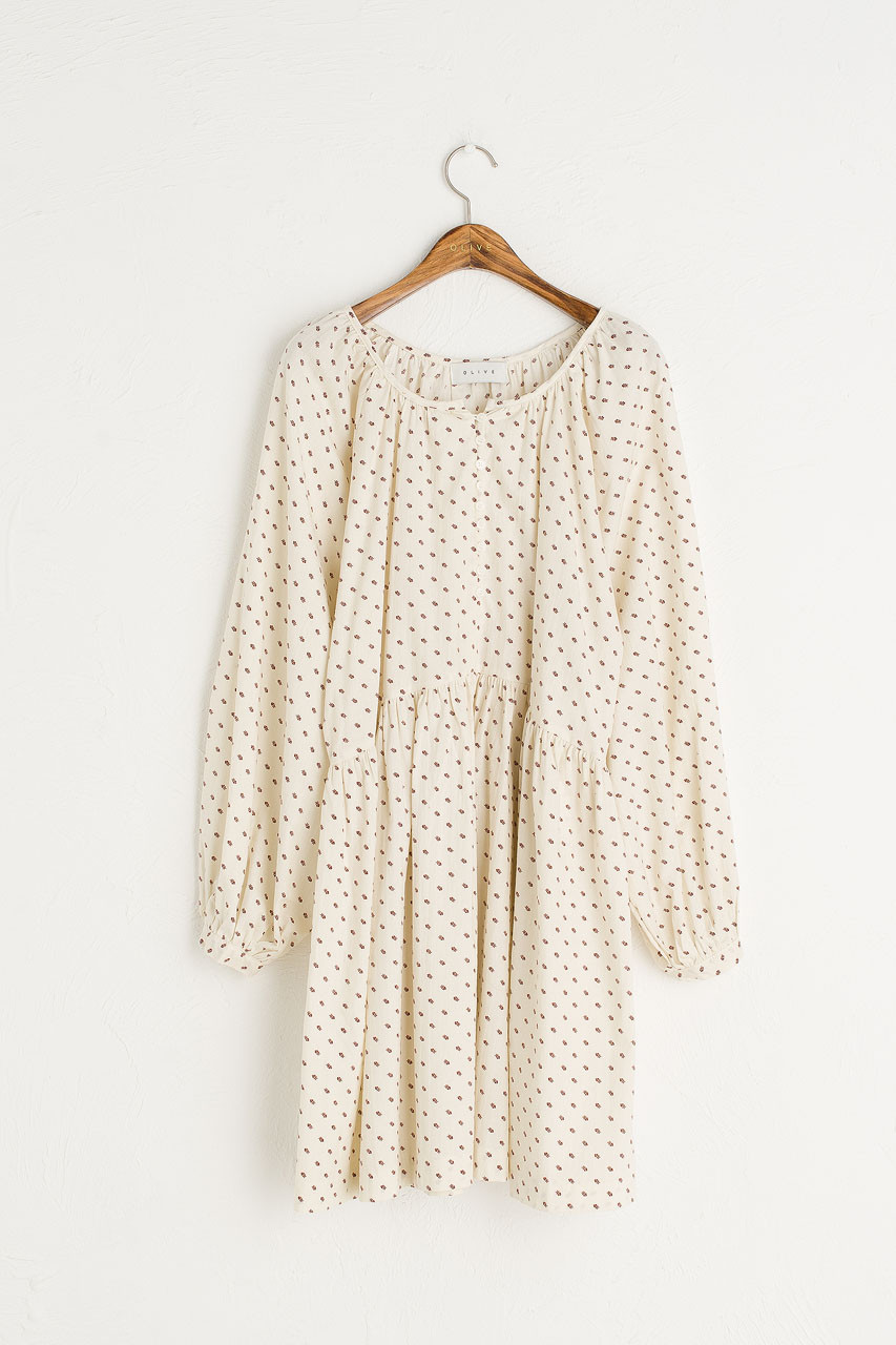 Prairie Babydoll Dress, Cream