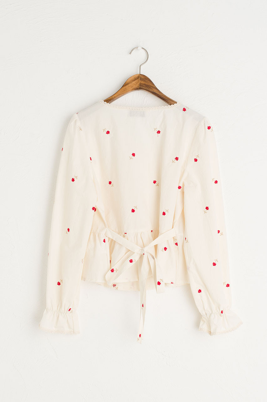 Blossom Embroidery Blouse, Red
