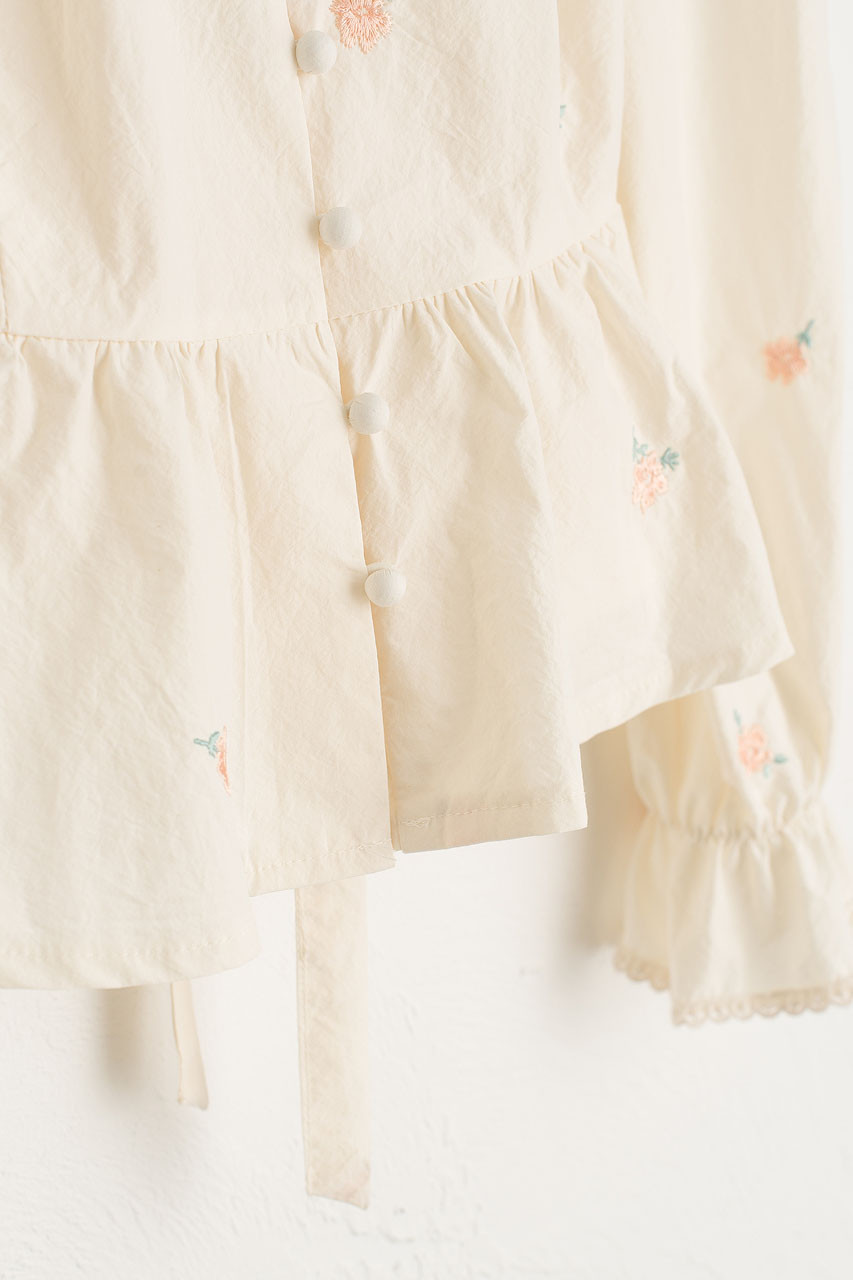 Blossom Embroidery Blouse, Peach
