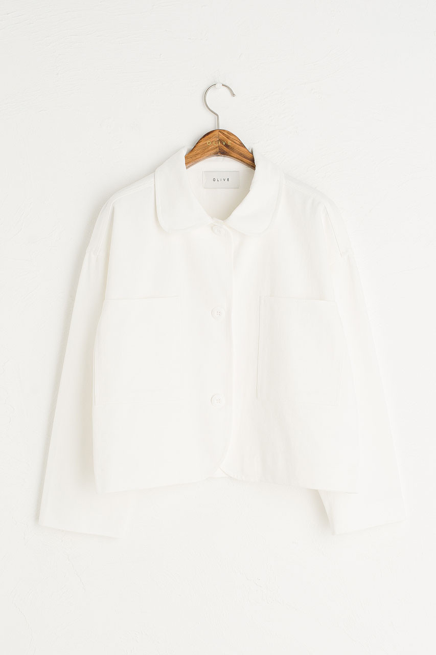 Three Button Cotton Jacket, Ivory