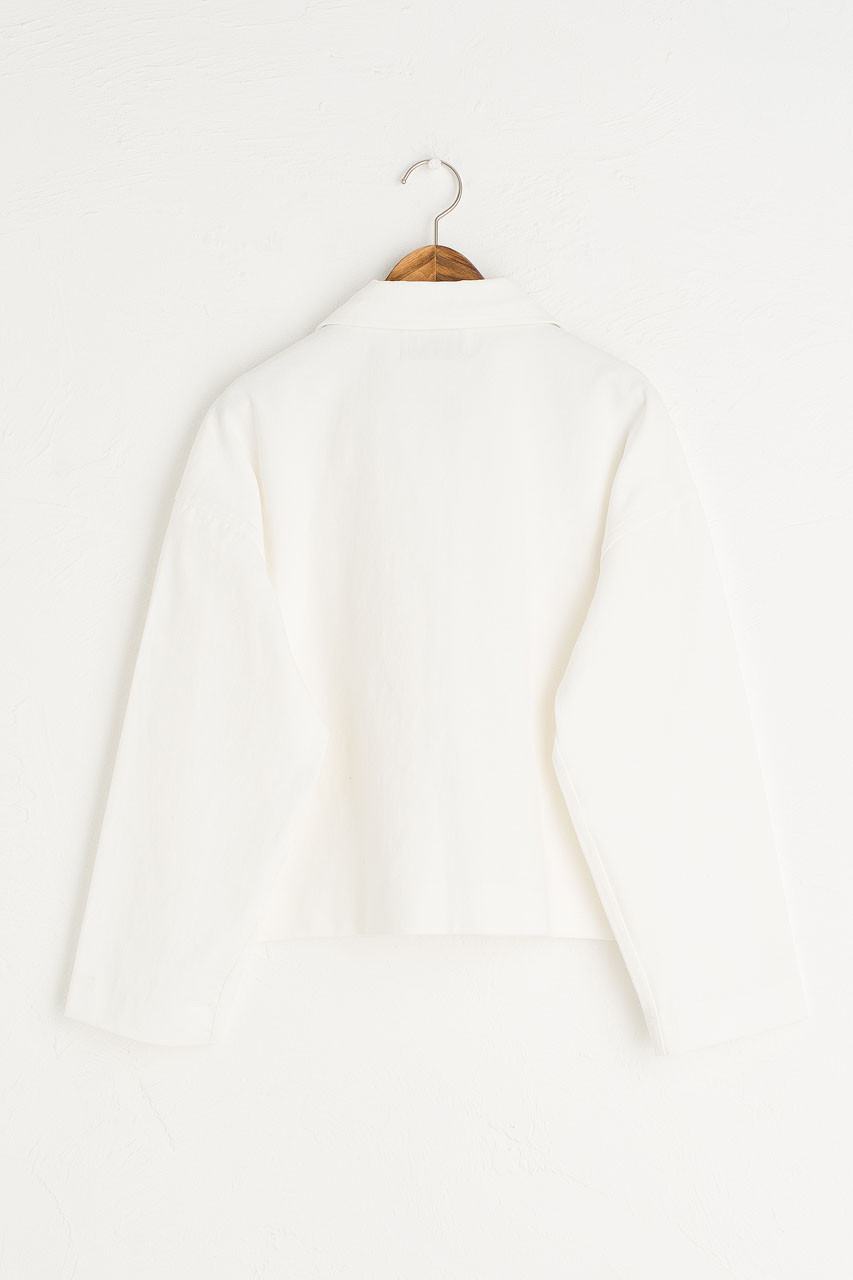 Three Button Cotton Jacket, Ivory
