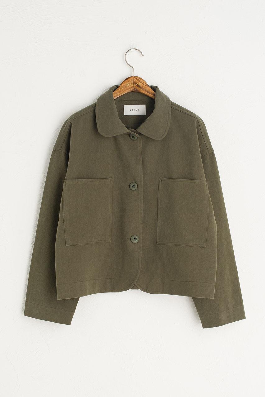 Three Button Cotton Jacket, Khaki