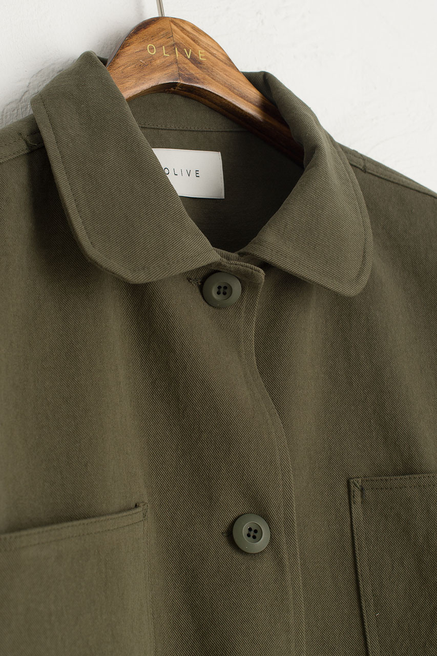Three Button Cotton Jacket, Khaki