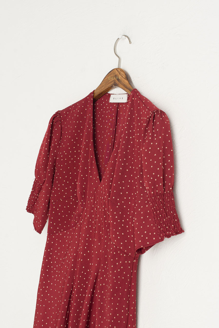 Jeanne Polka Dot Dress, Burgundy