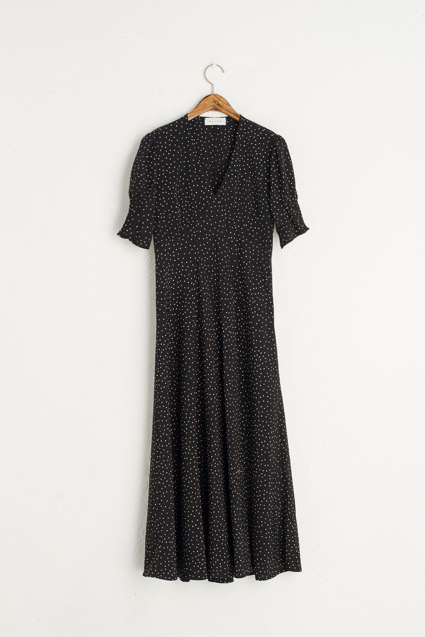 Jeanne Polka Dot Dress, Black