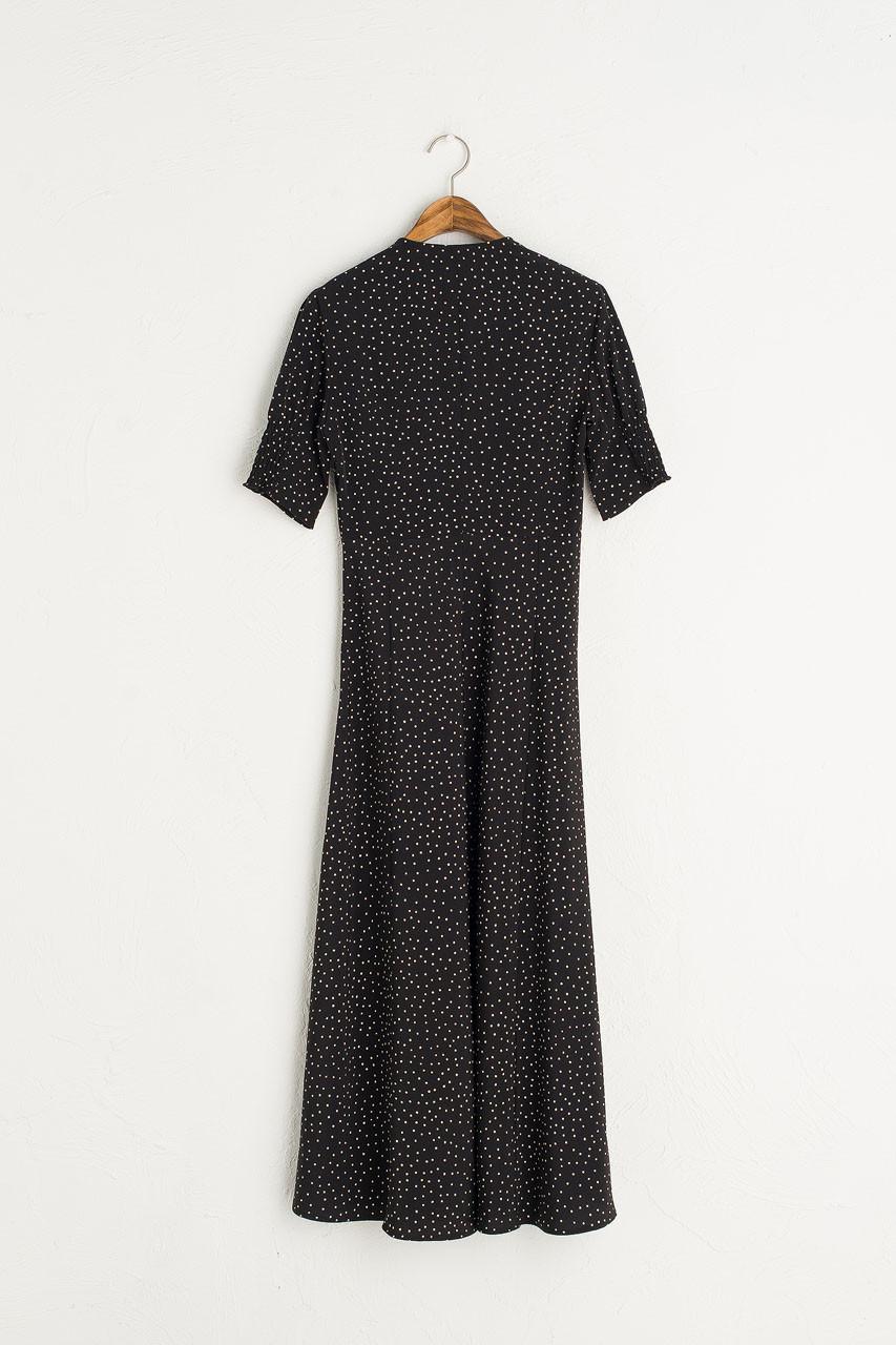 Jeanne Polka Dot Dress, Black