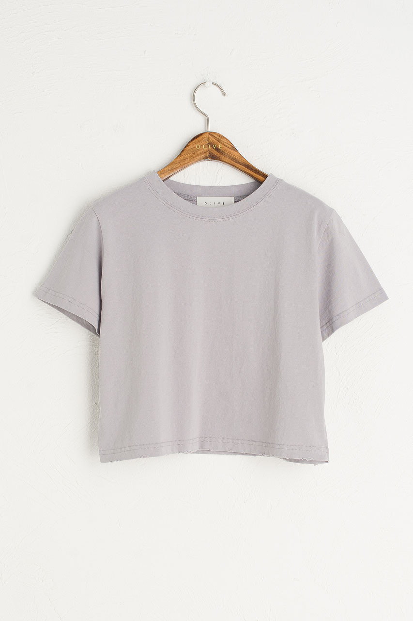 Cropped Vintage Wash Tee, Grey