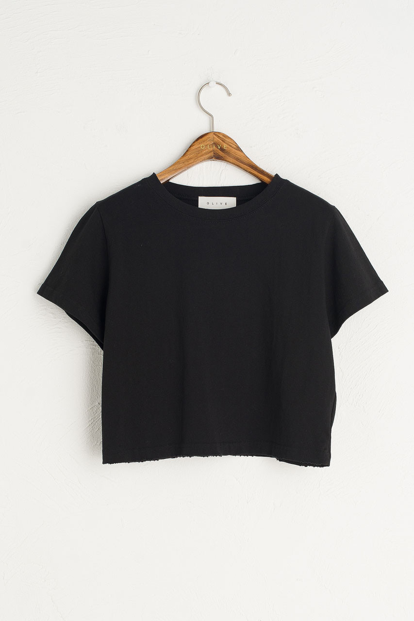 Cropped Vintage Wash Tee, Black