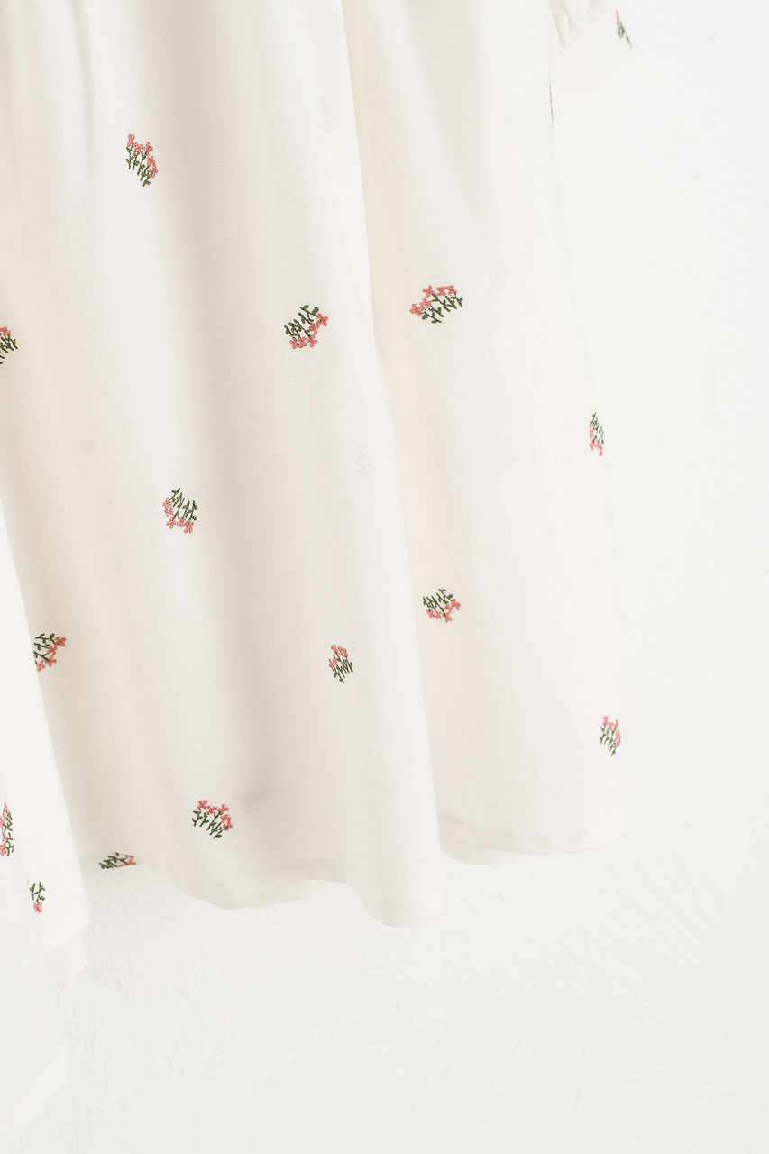 Wildflower Embroidered Cotton Dress, Ivory