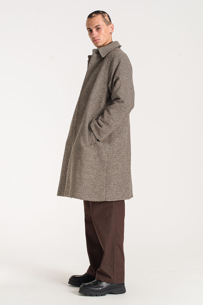 Menswear   Anthony Check Overcoat, Brown
