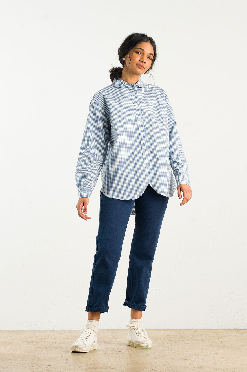 Billie Gingham Blouse, Blue