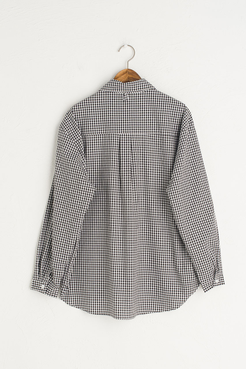 Billie Gingham Blouse, Black