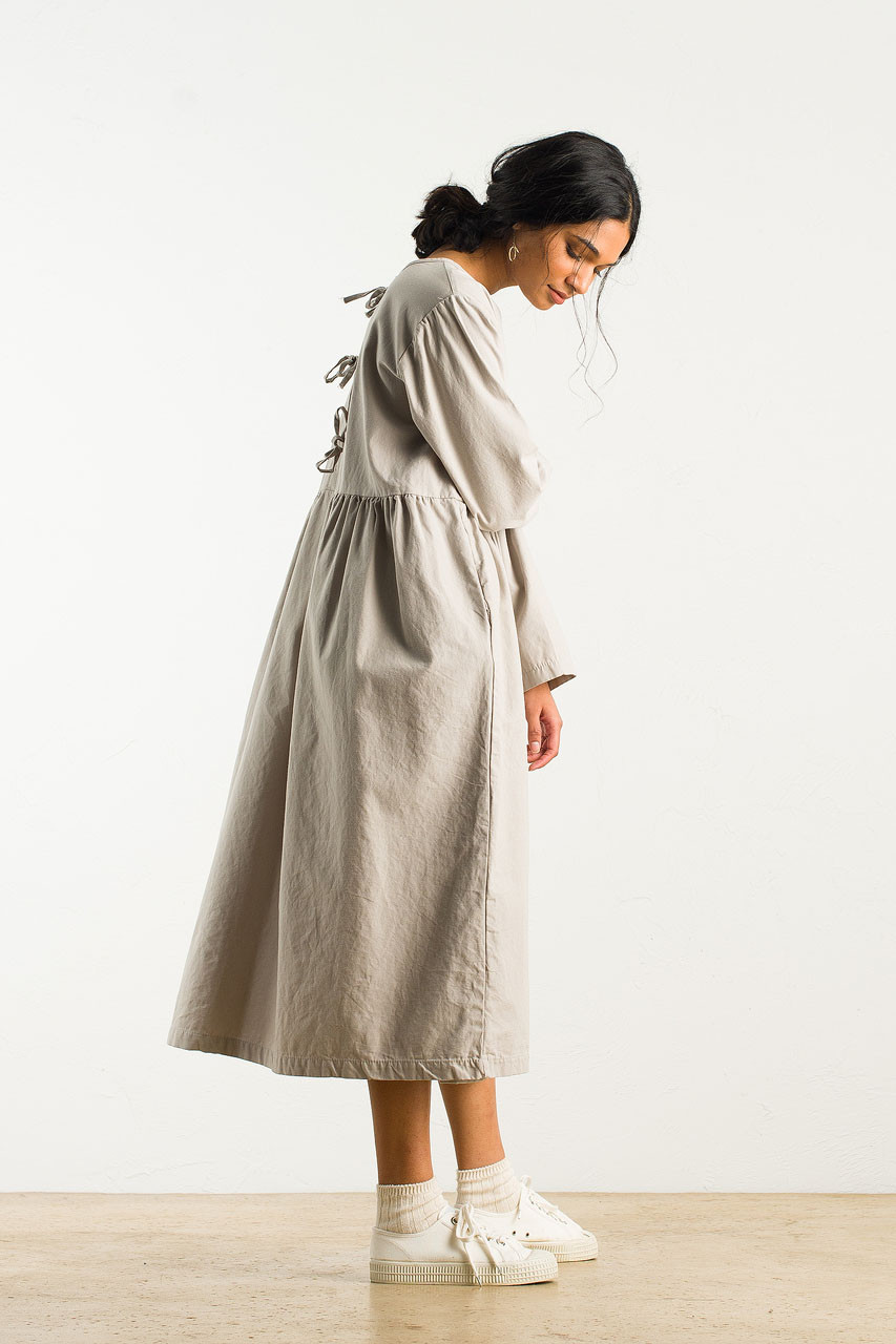 Ribbon Back Cotton Dress, Grey