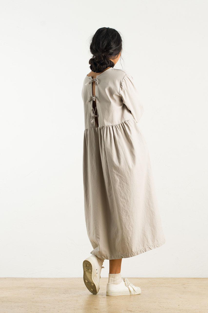 Ribbon Back Cotton Dress, Grey