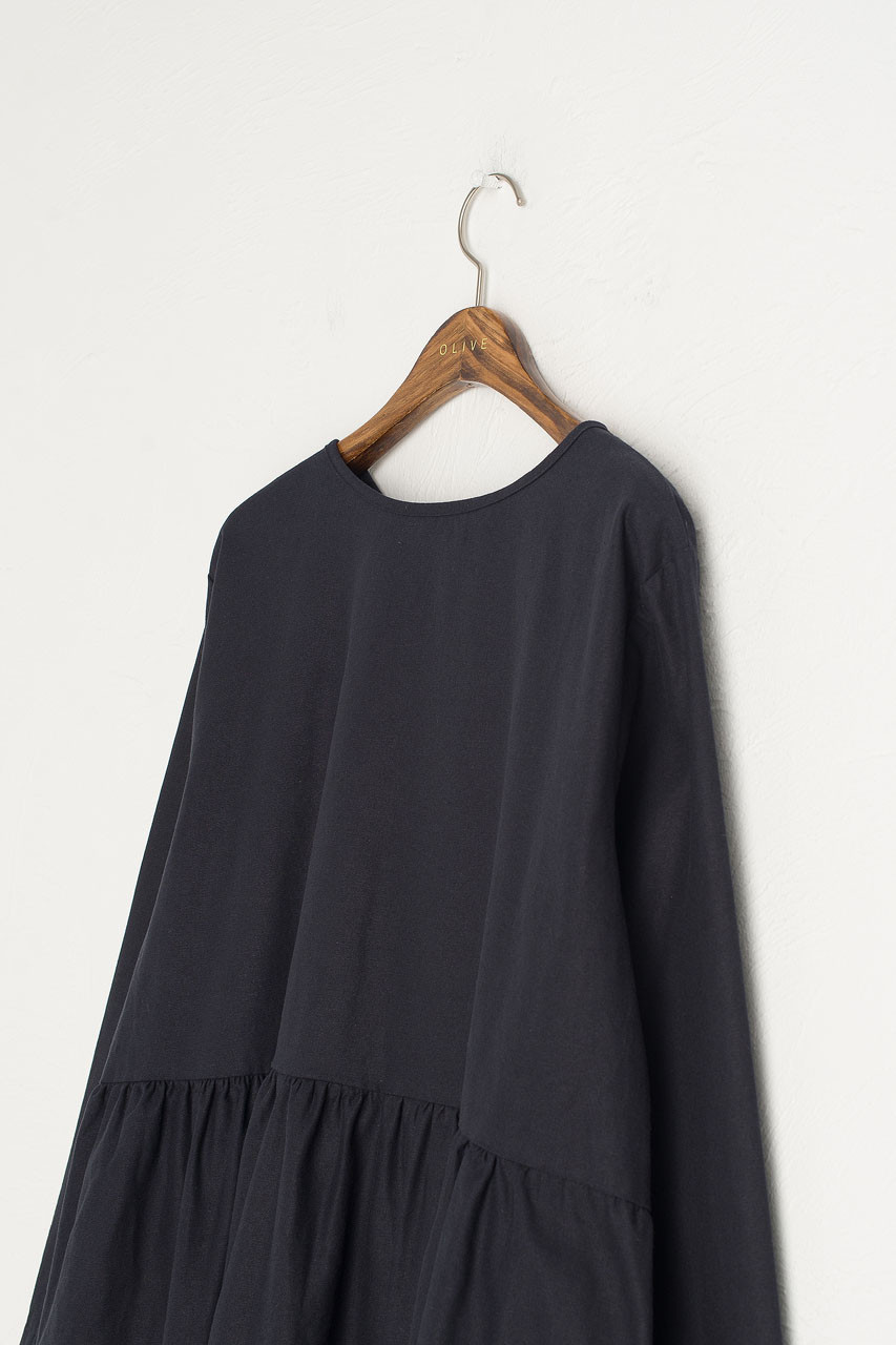 Ribbon Back Cotton Dress, Navy