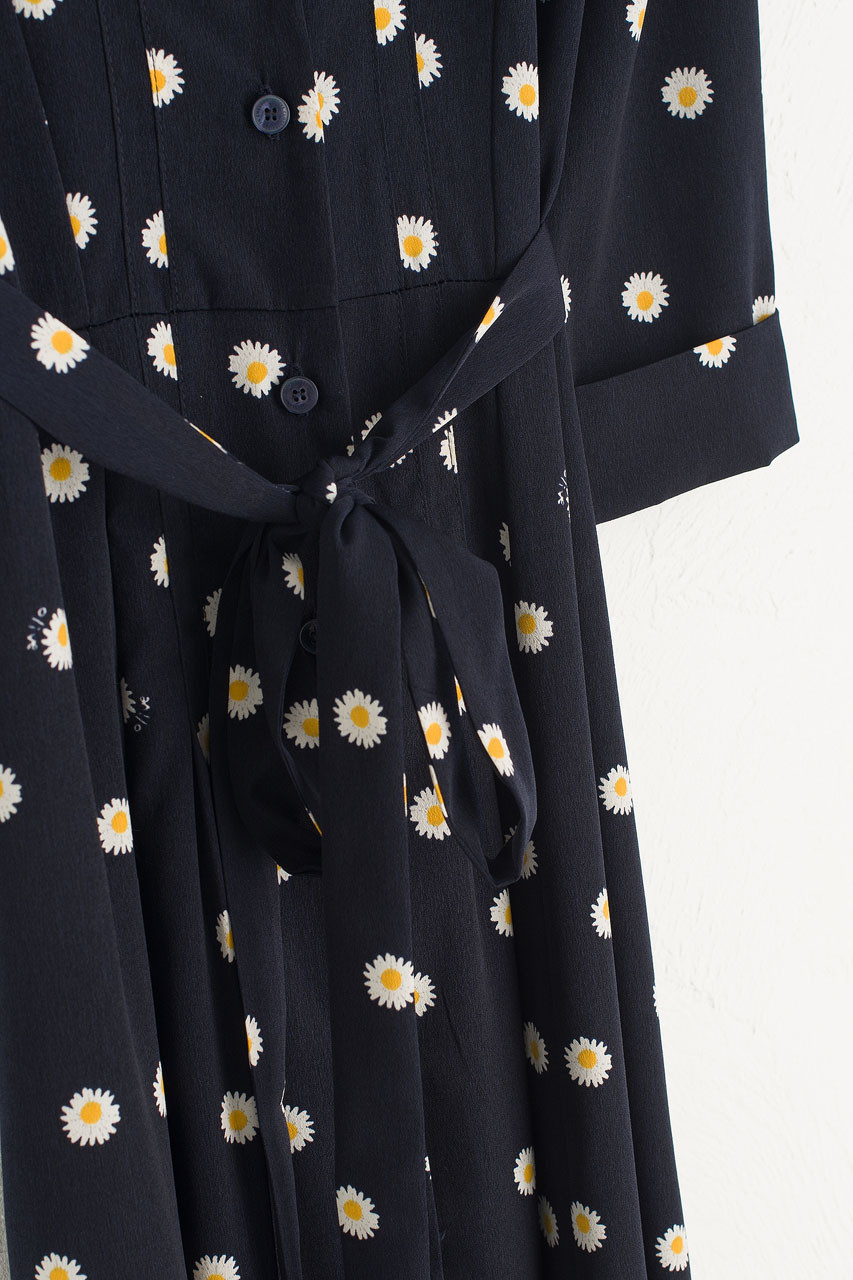 Daisy Notched Collar Dress, Navy