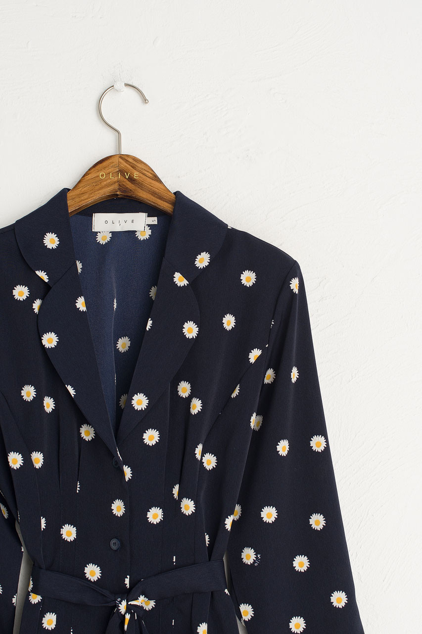 Daisy Notched Collar Blouse, Navy