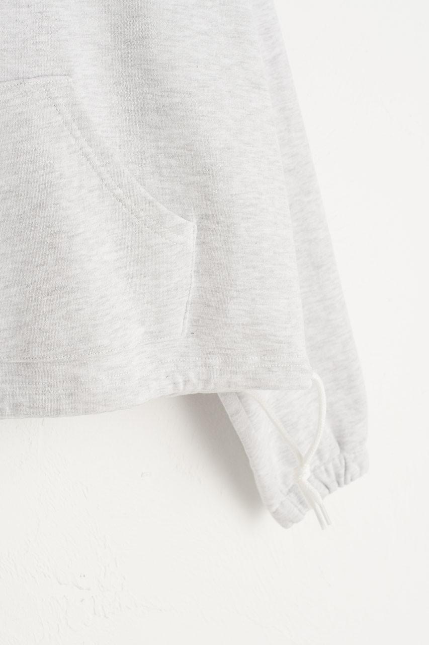 String Hem Hoodie, Grey