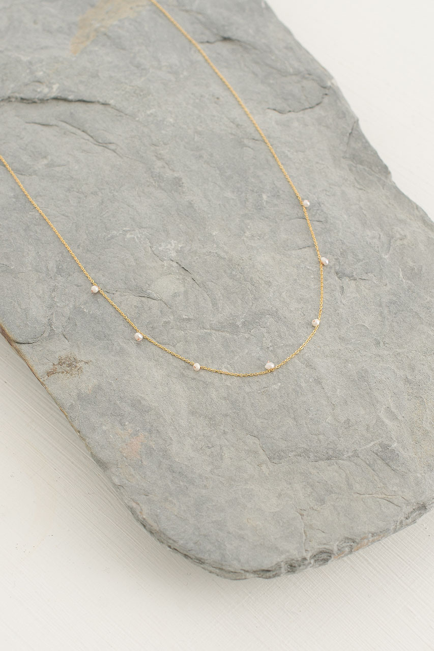 Lucy Mini Pearls Necklace, Gold Plated/Pearl